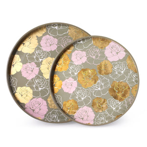 Gold & Pink Floral Grey Round Lacquer Tray (Set Of 2)