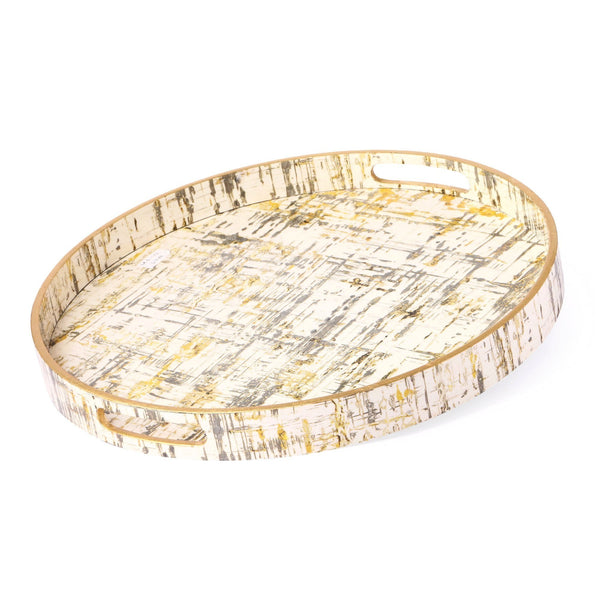 Gold & White Round Lacquer Tray (Set Of 2)