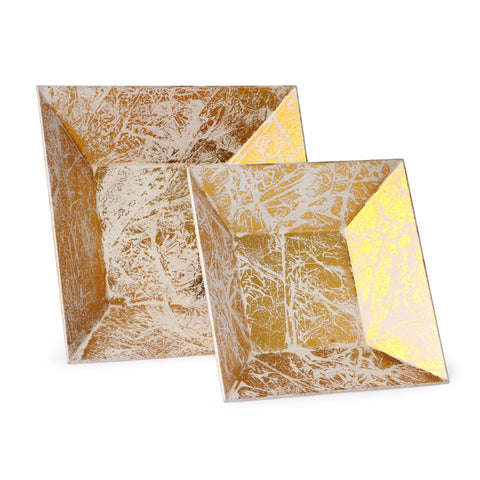 Lacquer Square Platter-White & Gold (Set Of 2)