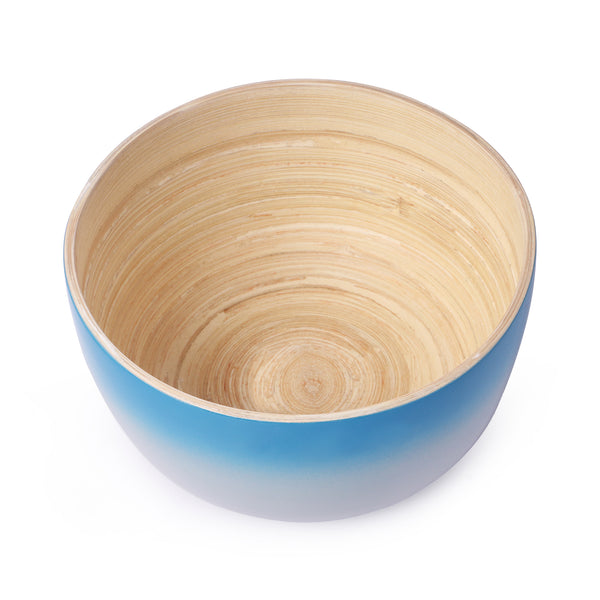 Round Ombre Bamboo Bowl-Blue & Grey (Set Of 2) - Nestasia Home Decor