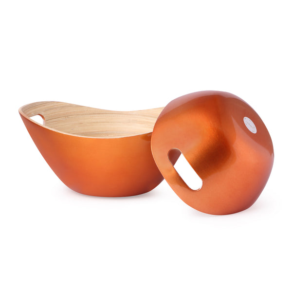 Bamboo Salad Bowl With Handle- Copper (Set Of 2)