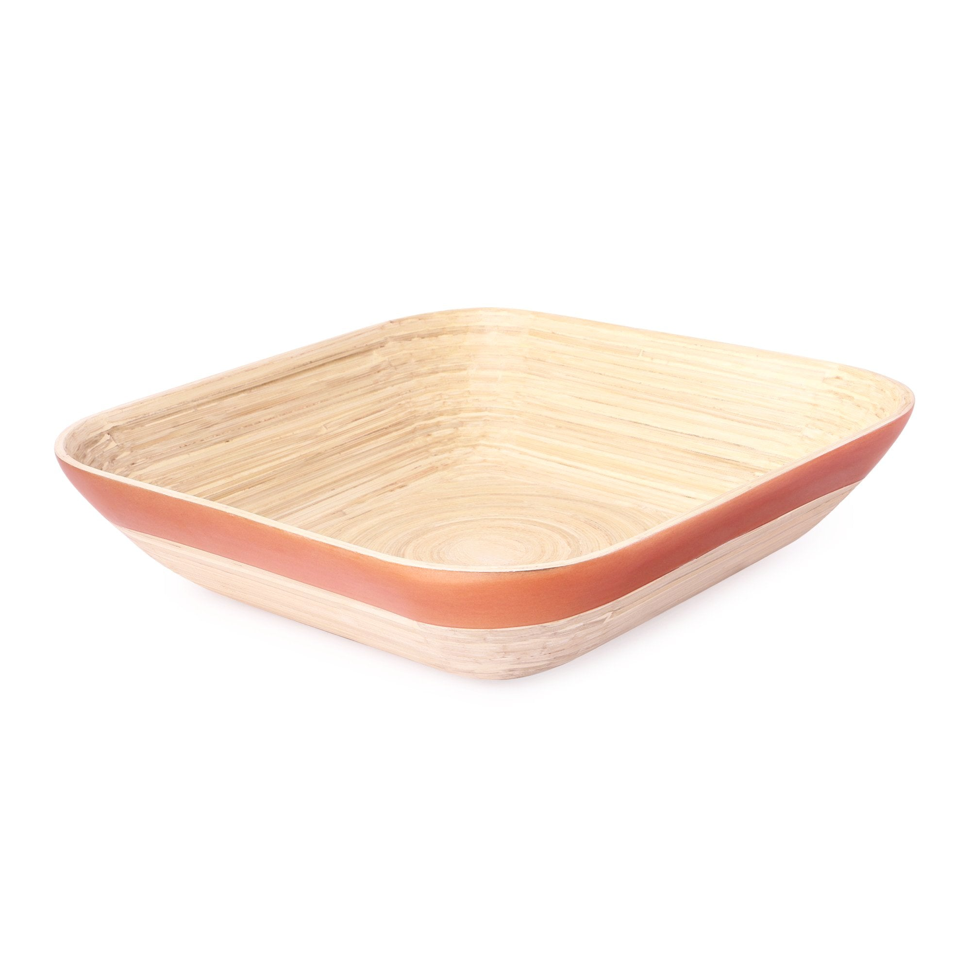 Bamboo Square Round Edge Tray Basket With Copper Rim - Nestasia Home Decor