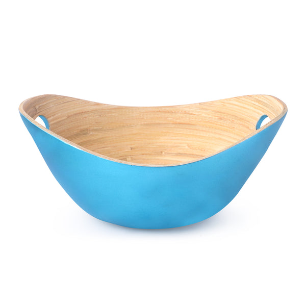 Salad Bamboo Bowls-Electric Blue (Set Of 2)