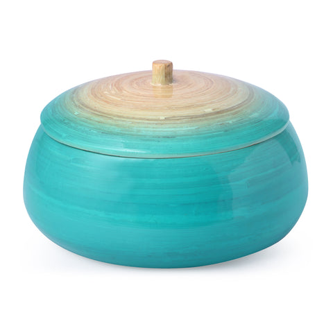Round Bamboo Box With Lid-Turquoise