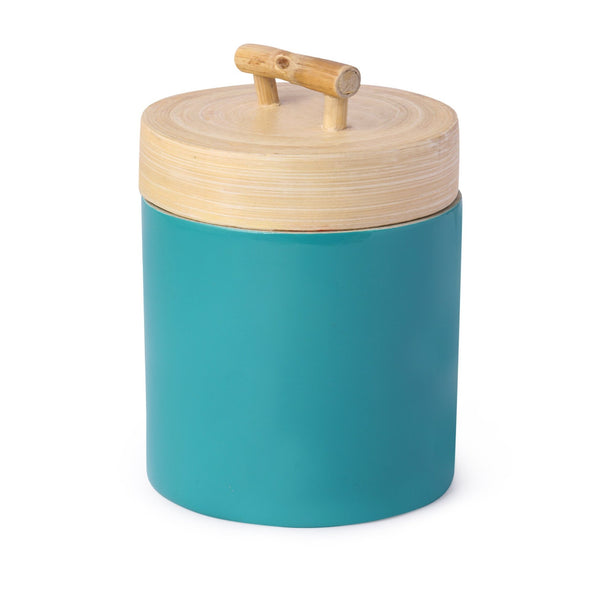 Bamboo Jar With Turquoise Base & Natural Bamboo Lid