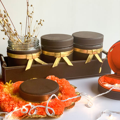 Jar & Tray set of 3 - Dark Brown Gold PU Leatherite