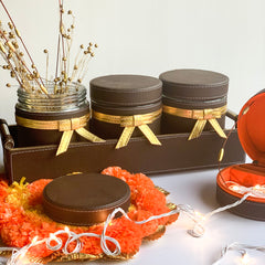 Jar & Tray set of 3 - Dark Brown Gold PU Leatherite - Nestasia Home Decor