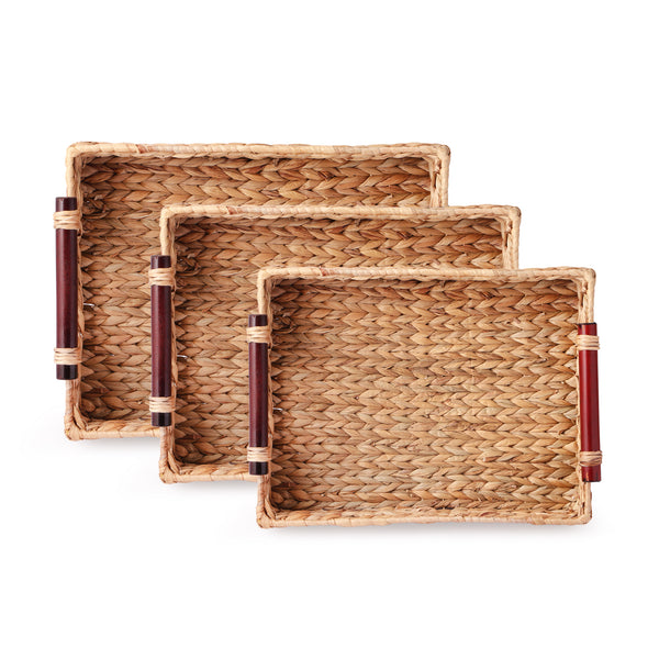 Water Hyacinth Tray With Wooden Handle (Set Of 3)