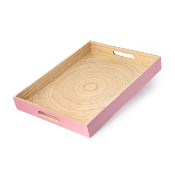 Bamboo Rectangle Serving Tray With Handle-Rose Gold