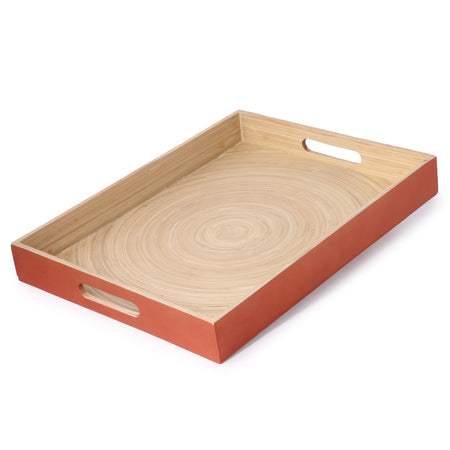 Bamboo Rectangle Serving Tray With Handle-Copper