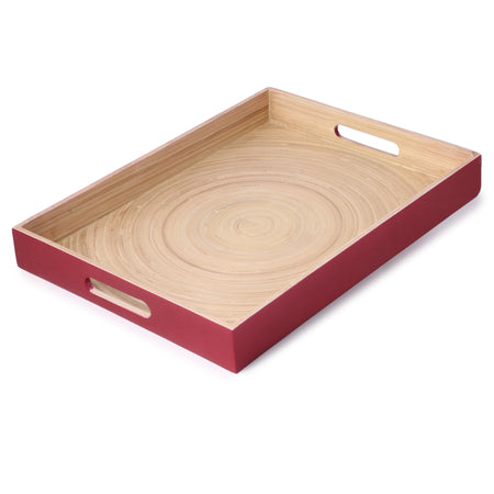 Bamboo Rectangle Serving Tray With Handle-Red