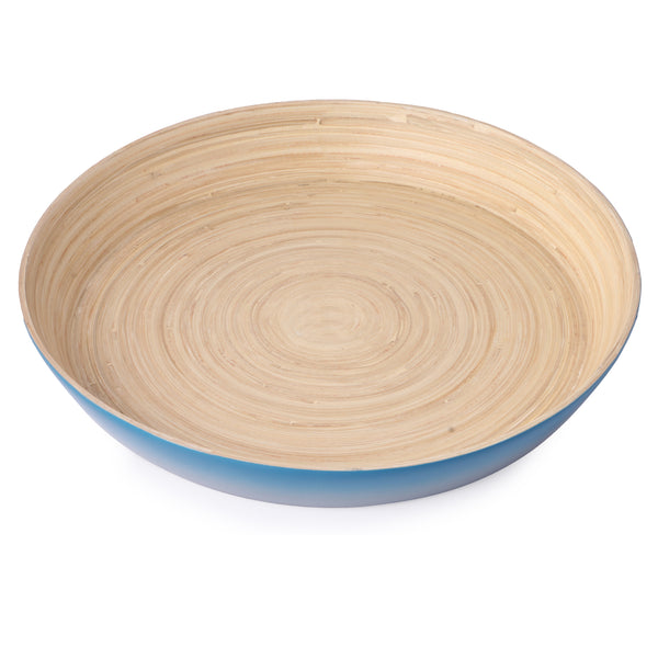 Round Bamboo Ombre Tray- Blue And Grey