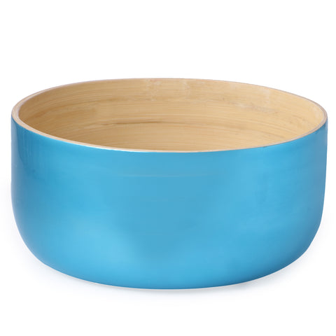Round Flat Bottom Bamboo Bowl-Electric Blue (Large)