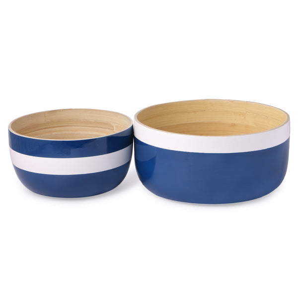 Round Bamboo Nautical Bowl-Blue & White (Set Of 2) - Nestasia Home Decor