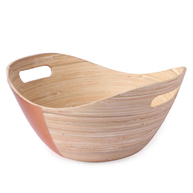 Oval Bamboo Salad Bowl With Handle-Half Copper