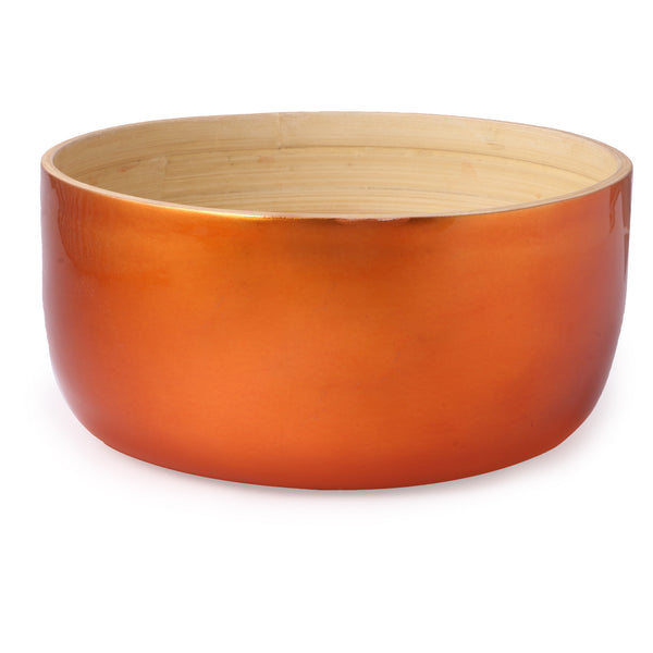 Round Flat Bottom Bamboo Bowl-Copper (Large) - Nestasia Home Decor
