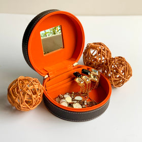 GLAM Round Zip Case Organiser - brown orange