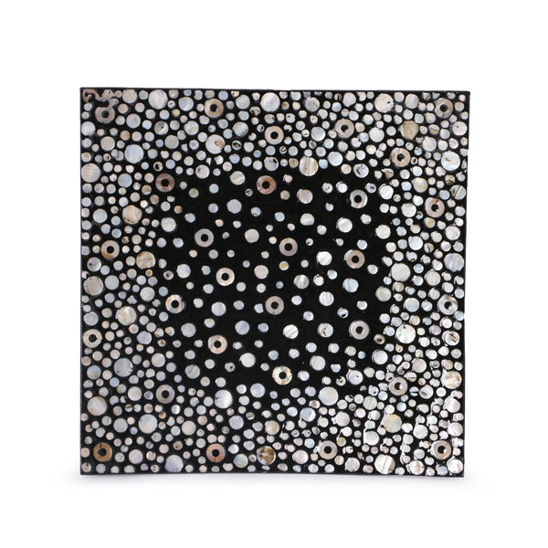 Mother Of Pearl Lacquer Square Platter-White & Black MOP - Nestasia Home Decor