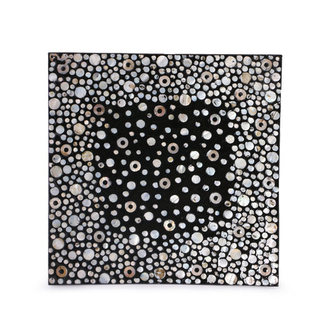 Mother Of Pearl Lacquer Square Platter-White & Black