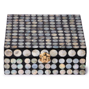 Mother Of Pearl Square Box- Dots (Set Of 2)