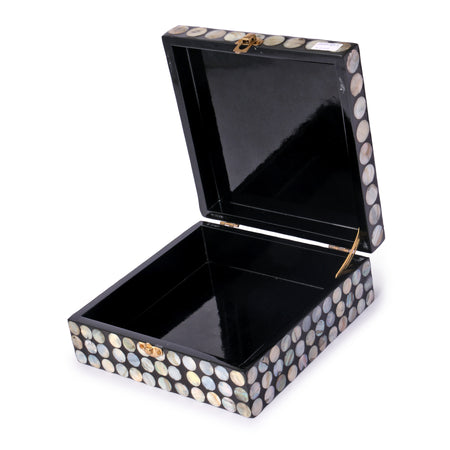 OCEAN Mother Of Pearl Box- Dots (Set Of 2)