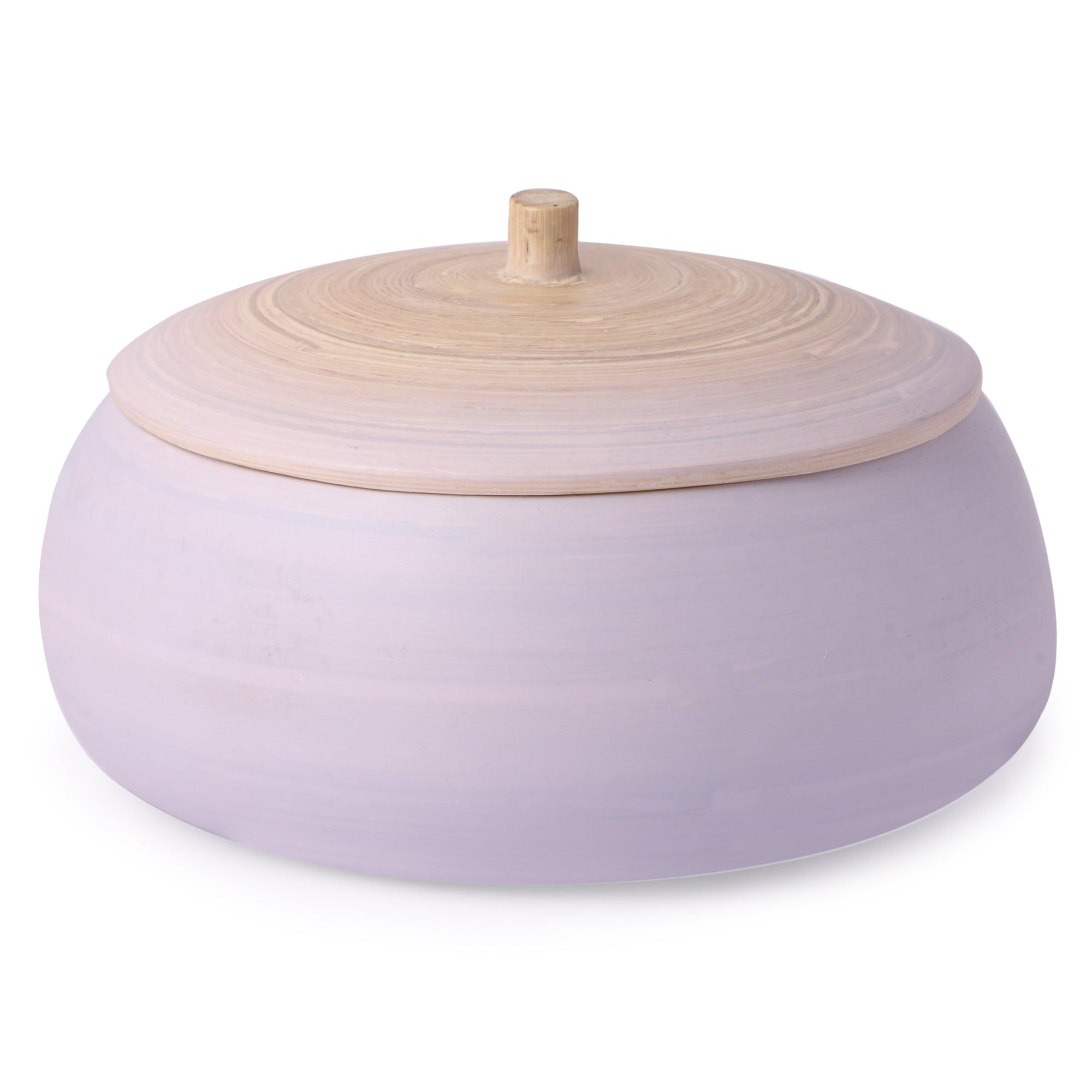 Round Bamboo Box With Lid- Matte Lavender