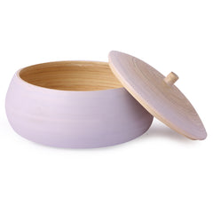 Round Bamboo Box With Lid- Matte Lavender - Nestasia Home Decor