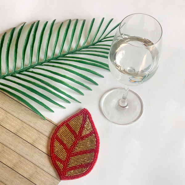 BEADS Leaf Coaster - Gold & Red (Set of 4)