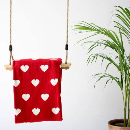 MERRY Heart Double Sided Knitted Throw Blanket - Red, Cream
