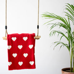 MERRY Heart Double Sided Knitted Throw Blanket - Red, Cream - Nestasia Home Decor