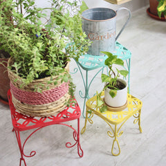 FLORA Metal Plant Display Table - Red, Blue, Yellow - Nestasia Home Decor