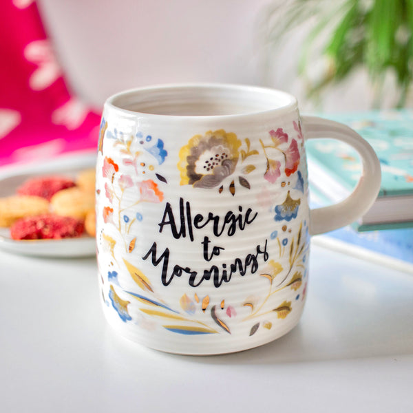 "MERRY ""Allergic to Mornings"" Quote Floral Mug - white - Nestasia Home Decor"