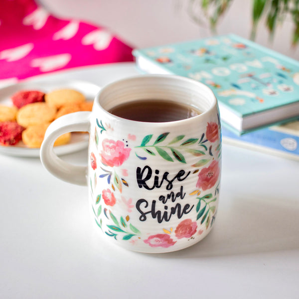 "MERRY ""Rise and Shine"" Quote Floral Mug-white - Nestasia Home Decor"