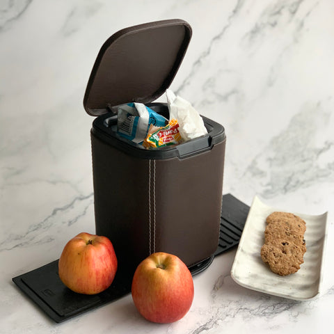 Mini Car Dustbin with lid - brown - waste paper storage box