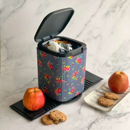 MARSHAL Mini Car Dustbin- Denim floral