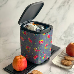 MARSHAL Mini Car Dustbin- Denim floral - Nestasia Home Decor