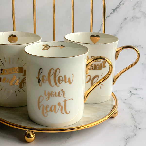 "CARA ""You are just my type"" Quote Mug - White , Gold - Nestasia Home Decor"
