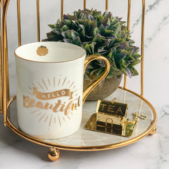 "CARA ""Hello Beautiful"" Quote Mug - White, Gold - Nestasia Home Decor"