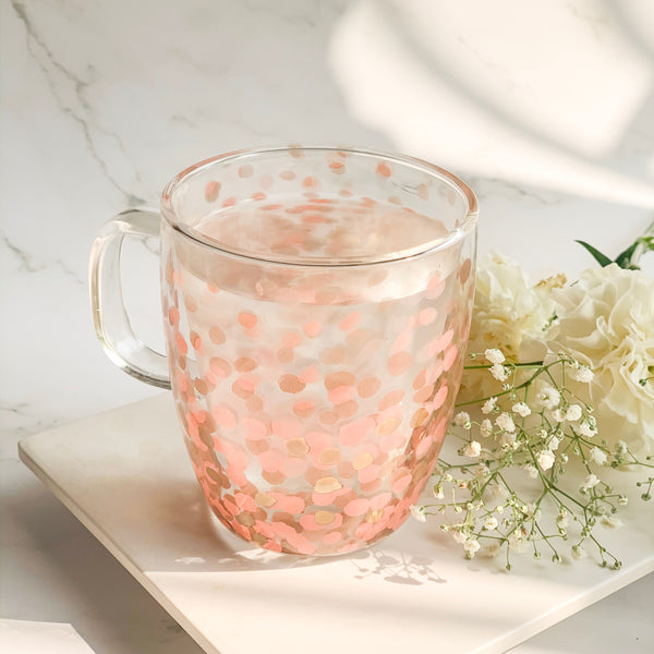 MAGNIFIQUE Dots double wall Mug - Pink , Gold - Nestasia Home Decor
