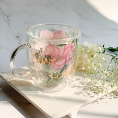 MAGNIFIQUE Double Wall Foral Mug - Pink , Green - Nestasia Home Decor