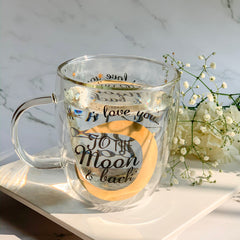 "MERRY ""Love you to the moon and back"" Double Wall Quote Mug - Black, Gold - Nestasia Home Decor"