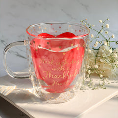 "MERRY ""Start each day with a thankful heart"" Double Wall Quote Mug - Pink , Gold - Nestasia Home Decor"
