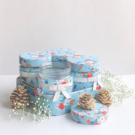 GLAM Jars and Tray Set - Blue floral White