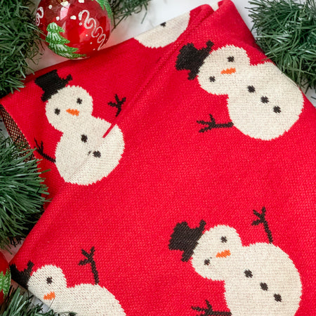 MERRY Snowman Knitted Throw Blanket - Red
