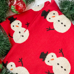 MERRY Snowman Knitted Throw Blanket - Red - Nestasia Home Decor