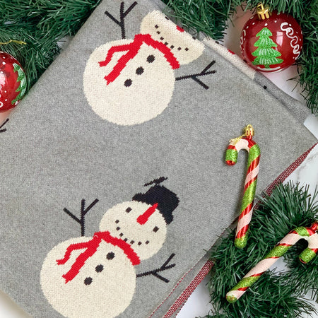 MERRY Snowman Knitted Throw Blanket - Grey