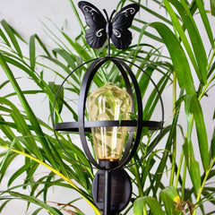 FLORA Solar Lamp Garden Stake with Butterfly - Black - Nestasia Home Decor