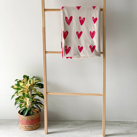 MERRY Heart Double Sided Knitted Throw Blanket - Pink and  Cream