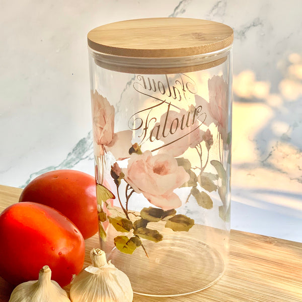 MAGNIFIQUE Glass Floral Jar with Wooden Lid - Pink - Nestasia Home Decor