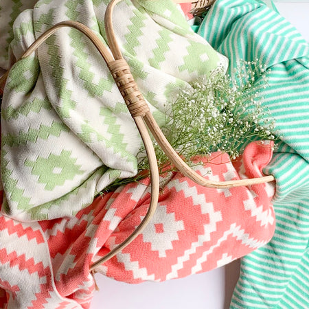 Spring Stripe Knitted Throw Blanket -  100% Cotton - Jade Green white